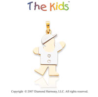 14k Two Tone Gold Charming Boy Large Diamond Pendant