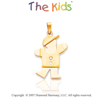 14k Yellow Gold Joyful Little Boy Bezel Diamond Pendant