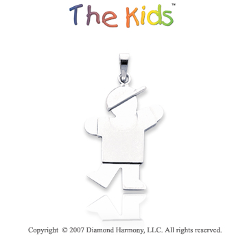 14k White Gold Adorable Little Boy Sweet Kiss Pendant
