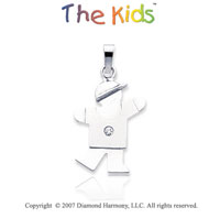 14k White Gold Cute Little Boy Bezel Diamond Pendant