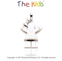 14k White Gold Charming Little Girl Sweet Love Pendant