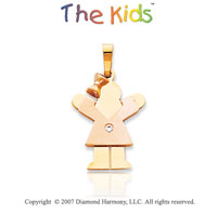 14k Two Tone Gold Little Girl Round Diamond Pendant