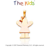 14k Two Tone Gold Adorable Fun Little Girl Love Pendant