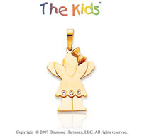 14k Yellow Gold Little Girl Love Bezel Diamond Pendant