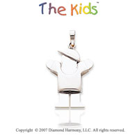 14k White Gold Super Cool Little Boy Sweet Love Pendant