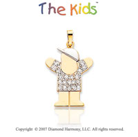 14k Two Tone Gold Lovable Boy Large Diamond Pendant