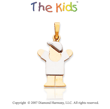 14k Two Tone Gold Cute Little Boy Small Love Pendant