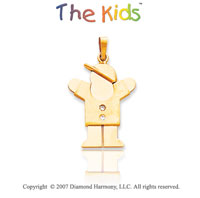 14k Yellow Gold Fun Little Boy Round Diamond Pendant