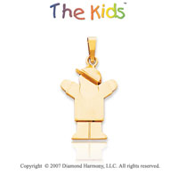 14k Yellow Gold Joyful Little Boy Small Love Pendant