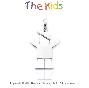 14k White Gold Fantastic Little Boy Large Love Pendant