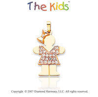 14k Two Tone Gold Dazzling Little Girl Diamond Pendant