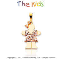 14k Two Tone Gold Dazzling Girl Hugs Diamond Pendant