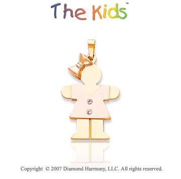 14k Two Tone Gold Pretty Little Girl Diamond Pendant