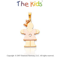 14k Two Tone Gold Pretty Girl Hugs Diamond Pendant