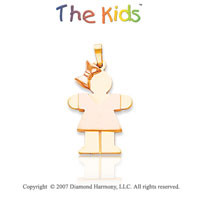 14k Two Tone Gold Pretty Little Girl Large Hugs Pendant