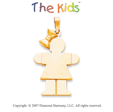 14k Yellow Gold Charming Little Girl Hugs Small Pendant