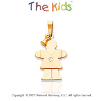 14k Yellow Gold Sweet Little Girl Round Diamond Pendant