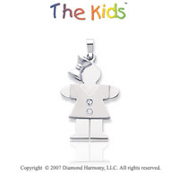 14k White Gold Sweet Little Girl Round Diamond Pendant