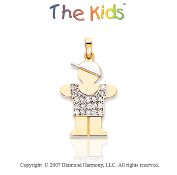 14k Two Tone Gold Dazzling Little Boy Diamond Pendant