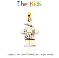 14k Two Tone Gold Dazzling Boy Small Diamond Pendant