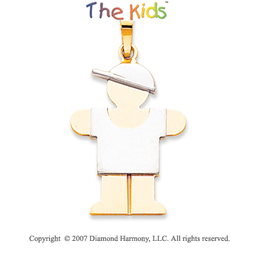 14k Two Tone Gold Fine Little Boy Hugs Large Pendant