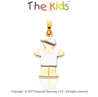 14k Two Tone Gold Fine Little Boy Hugs Small Pendant