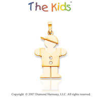 14k Yellow Gold Adorable Boy Hugs Large Diamond Pendant