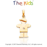 14k Yellow Gold Adorable Boy Hugs Small Diamond Pendant