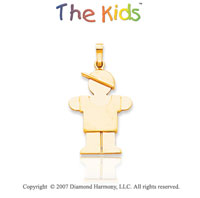 14k Yellow Gold Sweet Charming Little Boy Hugs Pendant