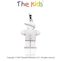 14k White Gold Sweet Darling Little Boy Diamond Pendant