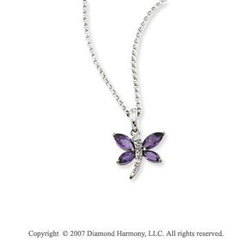 14k White Gold Dragonfly Amethyst Diamond Necklace