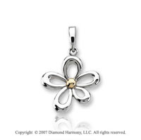 14k Two Tone Gold Fine Open Floral Style Pendant