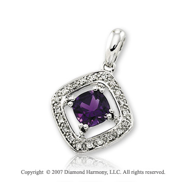 14k White Gold Antique Style Amethyst Diamond Pendant