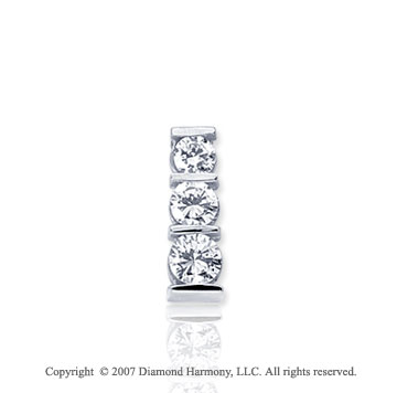 1/2 Carat Bar Channel 14k White Gold 3 Stone Diamond Pendant