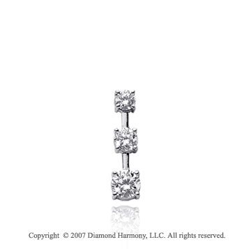 1/3 Carat 4 Prong Stem 14k White Gold 3 Stone Diamond Pendant