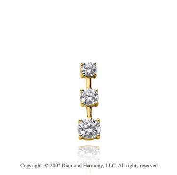 1/3 Carat 4 Prong Stem 14k Yellow Gold 3 Stone Diamond Pendant