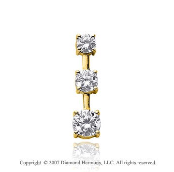 1 Carat 4 Prong Stem 14k Yellow Gold 3 Stone Diamond Pendant