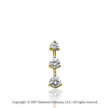 1/4 Carat 3 Prong Stem 14k Yellow Gold 3 Stone Diamond Pendant