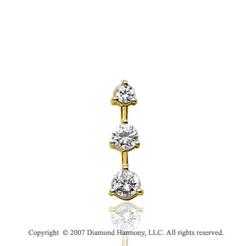 1/2 Carat 3 Prong Stem 14k Yellow Gold 3 Stone Diamond Pendant