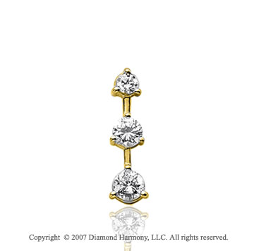 3/4 Carat 3 Prong Stem 14k Yellow Gold 3 Stone Diamond Pendant