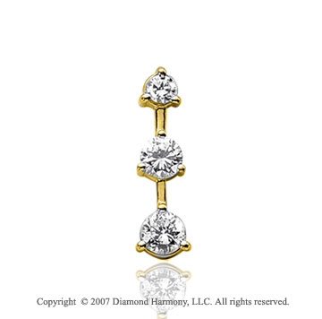 1 Carat 3 Prong Stem 14k Yellow Gold 3 Stone Diamond Pendant
