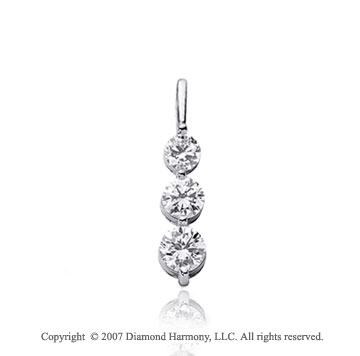 1 Carat Dual Prong 14k White Gold 3 Stone Diamond Pendant
