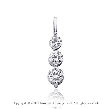 1 1/2 Carat Dual Prong 14k White Gold 3 Stone Diamond Pendant