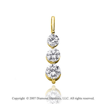 1 1/2 Carat Dual Prong 14k Yellow Gold 3 Stone Diamond Pendant