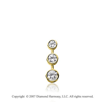 1/4 Carat Bezel Stem 14k Yellow Gold 3 Stone Diamond Pendant