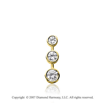 1/2 Carat Bezel Stem 14k Yellow Gold 3 Stone Diamond Pendant