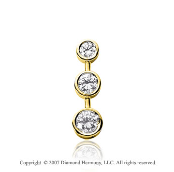 1 Carat Bezel Stem 14k Yellow Gold 3 Stone Diamond Pendant