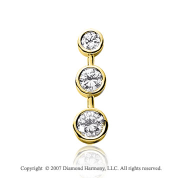 1 1/2 Carat Bezel Stem 14k Yellow Gold 3 Stone Diamond Pendant