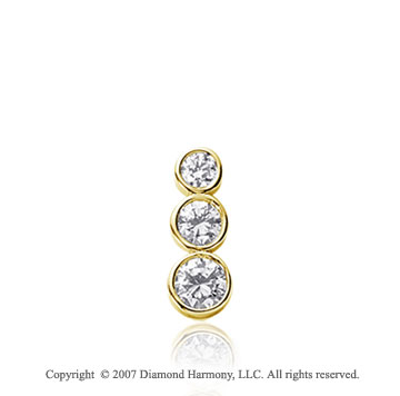 1/2 Carat Round Bezel 14k Yellow Gold 3 Stone Diamond Pendant