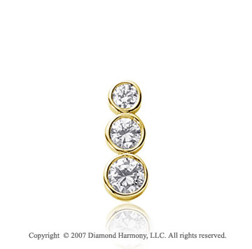3/4 Carat Round Bezel 14k Yellow Gold 3 Stone Diamond Pendant